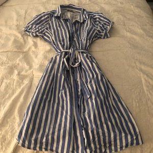 LOFT Blue/White Stripe Button Up Dress W/belt Sz M